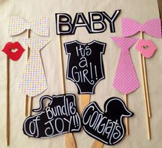 Baby Girl Shower Photobooth Props by IttyBittyWedding on Etsy,