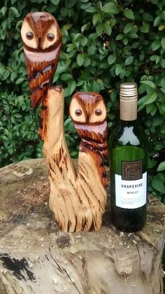 chainsaw wood carving of two owls garden ornament in Garden & Patio, Garden Ornaments, Animal Ornaments | eBay