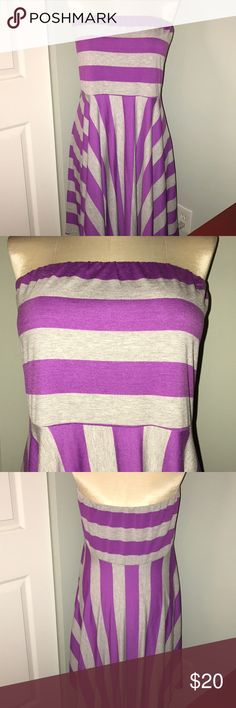 NWT Maurice's Purple/Grey Strapless Striped Dress NWT Maurice's Purple/Grey Strapless Striped Dress. Size 3x. Dress has Belt Loops, no Belt Included. Maurices Dresses
