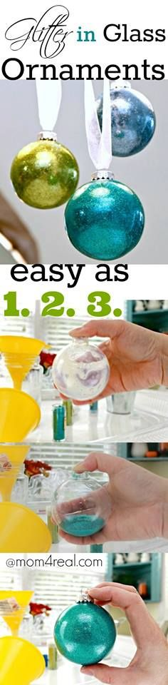 Glitter In Glass Ornaments - No Mess Glitter on the Inside