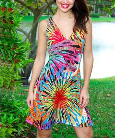 Reminds me of fireworks...great dress for 4th of July! Purple & Red Floral Burst Cutout V-Neck Dress.