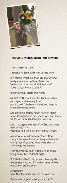 mothers day long copy ad