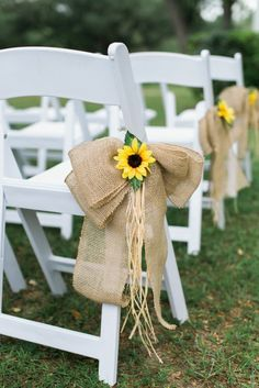 23 Bright Sunflower Wedding Decoration Ideas For Your Rustic Wedding! Sunflower and Burlap Bow Aisle Decor Sunflower Wedding Decorations, Wedding Chair Decorations, Fall Wedding Flowers, Wedding Chairs, Wedding Ideas With Sunflowers, Fall Sunflower Weddings, Sunflower Wedding Flowers, Sunflower Centerpieces, Decorating With Sunflowers