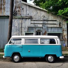 An old beautiful Volkswagen Van at Spring St. & Houston Ave. in Historic First Ward by @breakawaybackpacker