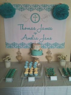 White and Aqua Damask baptism Baptism Party Ideas | Photo 3 of 3 | Catch My Party