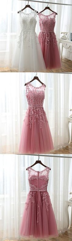 Charming A line lace short prom dress, lace homecoming dress – trendty