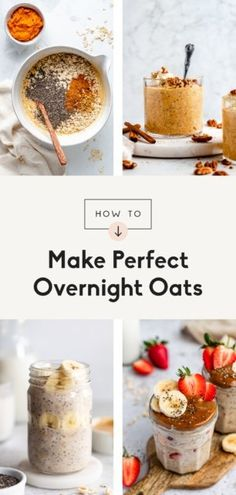 Learn how to make overnight oats that are perfectly thick, creamy, packed with nutrients, and absolutely delicious! With this step-by-step tutorial and a few key tips and tricks, you'll be able to make the best overnight oats for the perfect meal prep breakfast. Flavor ideas and our best recipes included! #overnightoats #oatmeal #healthybreakfast Banana Breakfast, Sweet Breakfast, Breakfast Recipes, Cereal Recipes, Oatmeal Recipes, Goat Cheese Recipes, Granola Cereal, Nut Butter, Overnight Oats