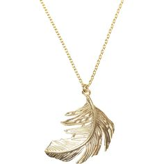 Alex Monroe Gold Big Single Feather Necklace ($175) ❤ liked on Polyvore