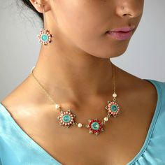 Floral jewelry, Swarovski flower necklace and dangle flower earrings jewelry set, Turquoise necklace and earrings, Turquoise & coral jewelry