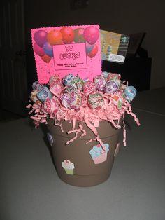 """30 Sucks!"" Lollipop basket (female friend)"