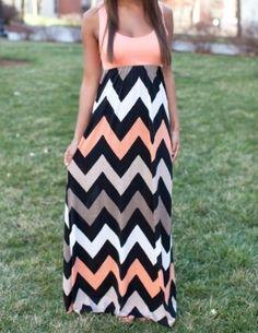 Colorful Chevron Maxi Dress