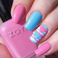 blue & pink stripes & hearts Instagram photo by graciezac #nail #nails #nailart