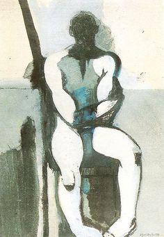 Keith Vaughan (1912-1977) was een Britse schilder. Vaughan was autodidact als kunstenaar. Hij ontwikkelde een eigenzinnige stijl die hem weg van de neo-romantici verplaatste. Concentratie op studies van mannelijke figuren en zijn werk werd steeds abstracter. Vaughan is ook bekend om zijn dagboeken; een homoseksuele man, last van zijn seksualiteit. Hij pleegde zelfmoord in 1977 aan een overdosis.