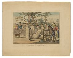 Robert Cruikshank, Jumping in Sacks (after W. H. Pyne). Hand colored etching and aquatint.