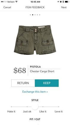 Pistola Chester Cargo Short. These seem like my style of shorts, though I'm willing to try new styles. I worry about the pockets making my thighs look bigger.