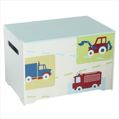 Vehicles Kids Toy Box - Childrens Bedroom Storage Chest with Bench Lid by Hel.