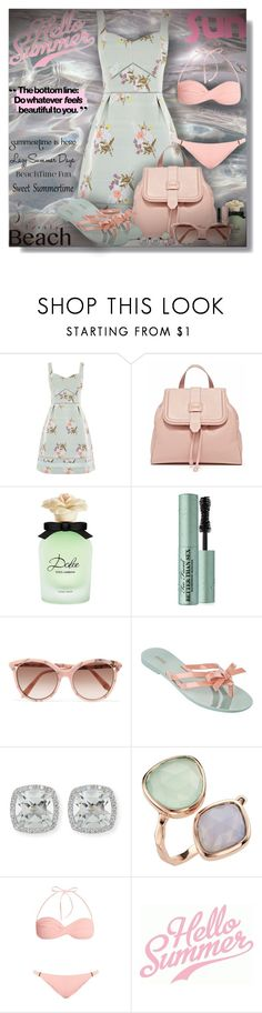 """""""All about the backpack - Contest!"""" by sarahguo ❤ liked on Polyvore featuring Dolce&Gabbana, Too Faced Cosmetics, L'Oréal Paris, Victoria Beckham, Melissa, Frederic Sage and Melissa Odabash"""