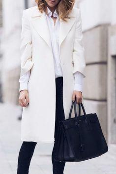 20 Looks with Fashion Coats Glamsugar.com Chic White Coat