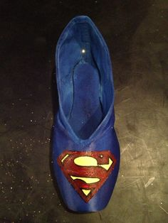 Painted Superman Pointe Shoe by prettyonpointe on Etsy, $30.00