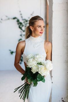 The White Files Babylon Flowers Silvana Tesdesco Gown Kas Richards Photography White Rose Bouquet, White Roses Wedding, White Wedding Bouquets, Stunning Wedding Dresses, Bride Bouquets, Floral Wedding, Red White Wedding Dress, Rose Boquet, Headpiece Wedding