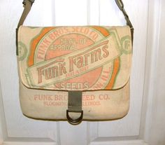 Vintage Funk Brothers  seed sack upcycled by LoriesBags on Etsy