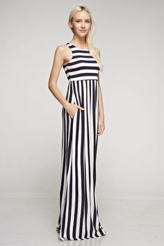 Fun vertical stripe maxi dress features hidden pockets and racer back. Easy comfortable maxi dress to wear to any summer event.  Rayon Spandex blend  Ships in about 2 weeks (July 20th) | Shop this product here: http://spreesy.com/shoptopshelfwardrobe/1841 | Shop all of our products at http://spreesy.com/shoptopshelfwardrobe    | Pinterest selling powered by Spreesy.com