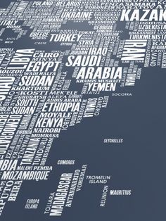 World Type Map in Sheer Slate from Bold and Noble