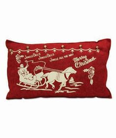 """Felt Vintage Jingle Bells Pillow from The Holiday Barn •16-1/2"""" x 10"""""""