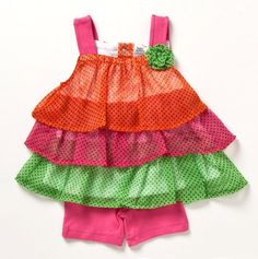 This is one of my favorites on totsy.com: Infant Triple Ruffled Polka Dot Top and Short Set