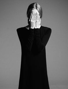 DIA | TWI | FB hands cover face interesting scene minimal monochrome fashion photography dark blackandwhite female portrait