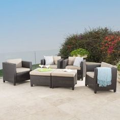 Shop for Puerta Outdoor 6-piece Wicker Seating Set with Cushions by Christopher Knight Home. Get free delivery at Overstock.com - Your Online Garden & Patio Shop! Get 5% in rewards with Club O! - 21254298