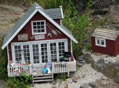 """Dollhouse, """"The Retreat"""", 1:12 scale, made by Hild-Tove Hellander Aslaksen, Arendal. Norway."""