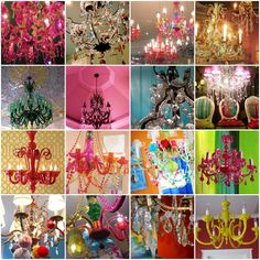 So many fun chandeliers! It would be cool to find one at a yard sale, paint it a funky color and then add some bling!
