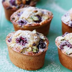 These little almond-pistachio cakes remind me of a more sophisticated cupcake. Full of flavor with a dense, chewy crumb, it's like frangipane meets fairy cake. French Dessert Recipes, Mini Desserts, Plated Desserts, Friands Recipe, Tea Cakes, Mini Cakes, Food Menu, Sweet Recipes, Unique Recipes