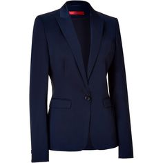 HUGO Open Blue One Button Jacket ❤ liked on Polyvore