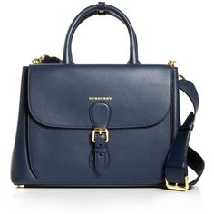 Burberry Bonded Leather Iconic Satchel ($2,795) ❤ liked on Polyvore featuring bags, handbags, blue carbon, satchel style purse, blue purse, satchel hand bags, structured satchel and structured handbag
