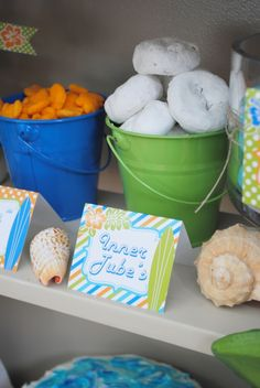 boys surfs up birthday party treat ideas - Modernes Boy Pool Parties, Pool Party Kids, Luau Party, Beach Party, Water Party, Tiki Party, Golf Party, Shark Party, Summer Parties