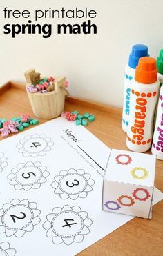 Practice counting sets and identifying numbers zero to five with this free printable math activity for spring. Use with your preschool or kindergarten flower or garden theme via @shaunnaevans