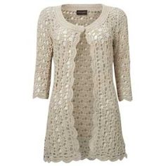 Cream long crochet cardigan        ♪ ♪ ... #inspiration_crochet #diy GB http://www.pinterest.com/gigibrazil/boards/