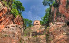 """Lataa kuva """"Linyong, vuoret, kiviä, Buddha patsas, Kiina, Aasiassa, HDR"""