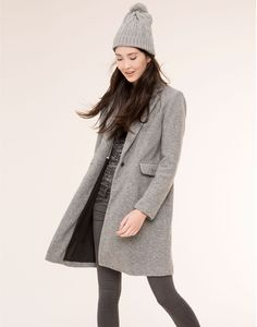 Manteau gris coupe masculine manteaux femme pull bear france wishlist mode v tements - Manteau coupe masculine pour femme ...