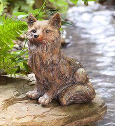 Glittered Fox Garden Statue