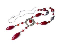 Art Deco Necklace, Flapper Necklace, Czech Glass Beads, Red Maroon, Art Glass…