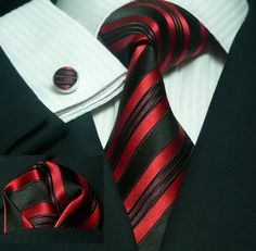 636 Mens Bacrelli BlacK Red Silk Tie Set « Mens Silk Ties | Wedding Ties | Ascots | Best Bowties