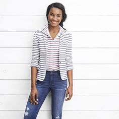 Ponte Blazer, Americana Stripe It Shirt, Indigo Rockstar from Old Navy's summer lookbook #wearegapinc