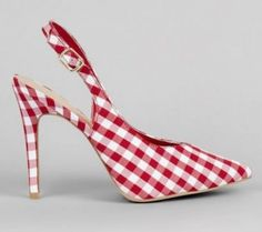 New Look red gingham pointed slingbacks