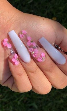 Bling Acrylic Nails, Best Acrylic Nails, Pink Nails, Coffin Nails, Bright Summer Acrylic Nails, Pink Clear Nails, 3d Nails, Cute Acrylic Nail Designs, Nail Art Designs