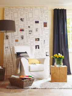 """picture panel from wohnidee.de - put your own pictures in the wallpaper """"frames""""."""