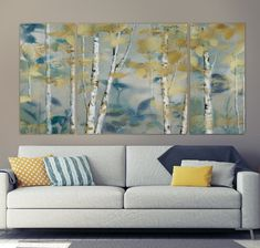 'Gilded Forest I' - 3 Piece Wrapped Canvas Multi-Piece Image Print String Wall Art, Diy Wall Art, Wall Art Sets, Nail String, Wall Decor, Large Canvas Art, Diy Canvas Art, Wall Canvas, 3 Canvas Paintings