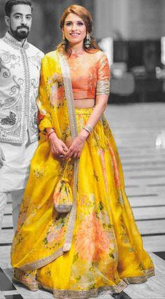 Mehendi Sangeet Yellow color Lehenga in Organza Silk, Silk fabric with Digital Print, Floral work Floral Lehenga, Yellow Lehenga, Silk Lehenga, Indian Lehenga, Pakistani, Mehendi Outfits, Indian Bridal Outfits, Indian Designer Outfits, Sangeet Outfit